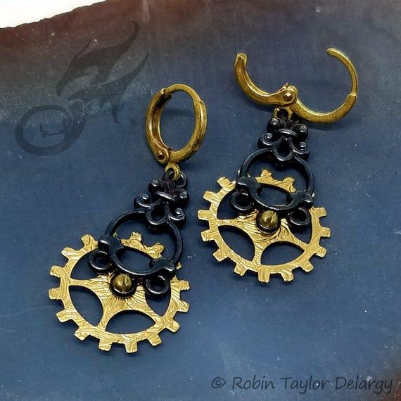Steampunk Earrings ~ Gearrings ~ Bright Gold Patterned Brass Gears & Oxidized Silverplate on Round Circle Brass Leverback Ear Wires #E0938