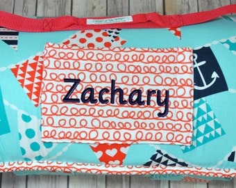 "2"" thick cushy Memory Foam Standard 50"" Preschool Kindermat Nap Mat Roll in Mutiny Bunting Nautical Print with personalized embroidery"