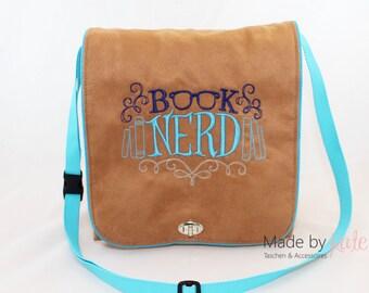 Messenger bag, small messenger bag, book bag, brown bag, cross body bag, small bag, embroidered bag, Book Nerd
