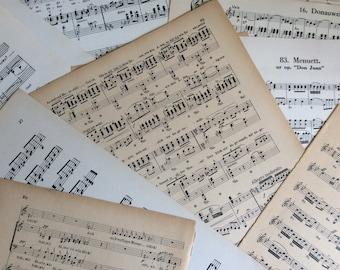 Vintage sheet music for scrapbooking, paper craft, bundle of old sheet music, paper ephemera, sheet music for decoupage.