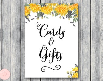 Orange Cards and Gifts Sign, Instant Download, Printable Sign, Wedding Thank you Sign, Bridal Shower thank you, Baby Shower cards TH29