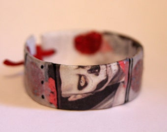 """Recycled Paper Cuff Bracelet: Titled """"Frightful"""" - recycled/repurposed paper decoupage bracelet cuff, hand made, one-of-a-kind item"""