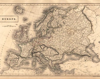 Europe Map Original Antique 1847