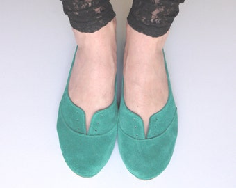Oxfords Shoes. Women Leather Oxfords. Leather Oxfords Shoes. Aqua Green Flats. Lace up Shoes. Low Heel Shoes.Comfortable Shoes.Emerald Flats