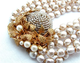 RESERVED Signed Miriam Haskell Necklace Baroque Pearl Designer Vintage Jewelry Multi Strand Necklace