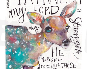 Woodland nursery, bible verse, bible verse artwork, Jesus art, Christian art, bible journaling, doe painting, watercolor deer painting,