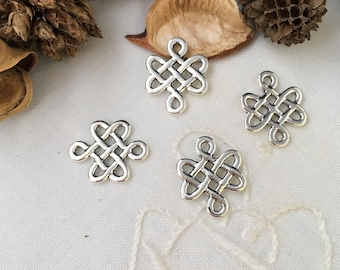 5 connector knot Chinese lucky silver glossy
