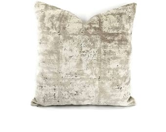 S. Harris Mesmerize in the color Argent - Gray Abstract Velvet Pillow Cover