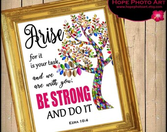 Arise and Be Strong Bible Scripture Ezra 10:4 Digital Collage Sheet 8x10 Image Transfer Wall Art Instant Download Printable UPrint 300jpg