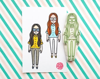 girl rubber stamp | girl with long hair | people stamp | fashionista stamp | diy | street fashion no11 | hand carved by talktothesun
