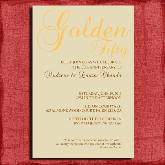Printable 25th Or 50th Wedding Anniversary Invitation W/quote
