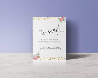 INSTANTLY Customizable & Printable Wedding Hashtag Sign, Instagram Hashtag Sign
