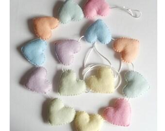 Design your own felt heart  garland, felt heart bunting, heart nursey garland
