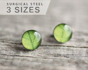 Green leaf post earrings, Surgical steel stud, Tiny earring studs, Nature stud earrings