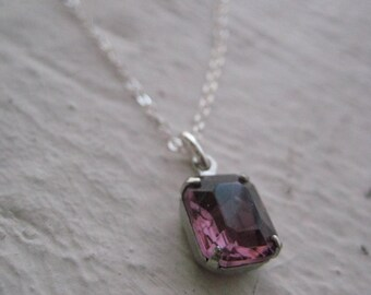 Greta Necklace- Sterling Silver, Vintage, Amethyst Glass Jewel,