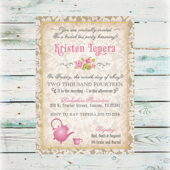 Lace tea party bridal shower invitation diy digital file filmwisefo