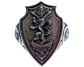 House Lannister Ring, Game of Thrones  Ring Hear Me Roar Ring, House Lannister of Casterly Rock Crest, A Song of Ice and Fire