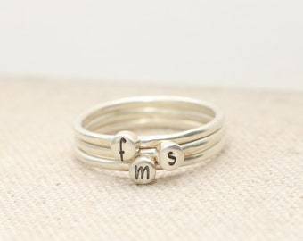 Initial Ring  - Gift for Mom - Stacking Rings -  Personalized Rings - Birthday Gift - New Mom Gift