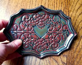 Victorian soap dish | Jewelry dish, catch-all, key holder | Heart & Scroll Design