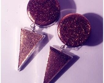 24mm Copper glitter arrow dangle plugs!
