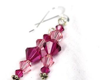 Swarovski Crystal Two-Tone Pink Earrings, Handmade Swarovski earrings, Pink Swarovski Earrings, Handmade earrings