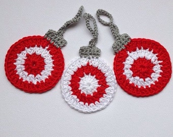 Christmas Crochet Tree Ornaments, Candy Cane Baubles,  Set of 3