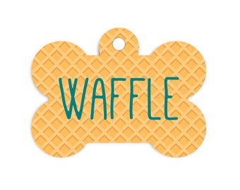 Waffle Dog Bone Tag for Dogs, Summer Pet Id Tag, Waffle Cone Pet Id Tag, Summer Dog Name Tag, Waffle Collar Tag for Dogs, Waffle Pet Tag