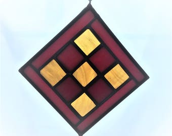 """4""""x4"""" Red and Gold Stained Glass Suncatcher"""