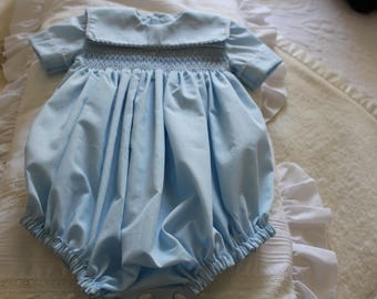 Hand made, Hand smocked, Romper for baby boys, Handmade with love and care