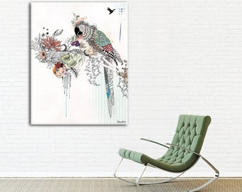 Colorful Print of Parrot Painting, Large Painting, Animal illustration, Home Decor Wall Art, Housewares