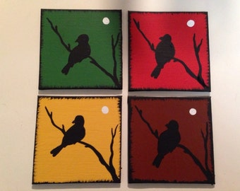 Hand painted coasters, bird silhouette, custom  coasters, painted coasters, housewares,