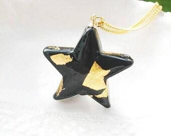 Black Murano Glass Star Necklace