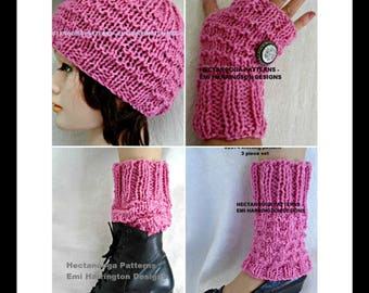 knitting pattern, Hat, Gloves, Legwarmers, child, teen, adult, Unisex style, easy stitch pattern, #2074, Hectanooga patterns