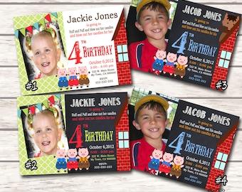 Three Little Pigs Invitation Big Bad Wold Invite Photo Birthday Invitation Printable Digital