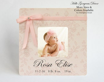 New Baby Gift Picture Frame Personalized Newborn Baby Girl Keepsake Custom Photo Frame Infant Birthday Gift Pink Nursery Decor Room Ideas