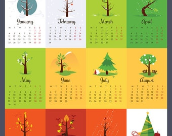"16x20"" Wall Calendar 2016, 2016 large calendar, Nursery wall calendar, Trees calendar, Wall art, Nursery decor"