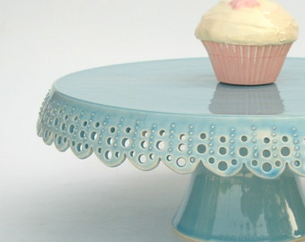 Medium cake stand... azure lace cake plate.