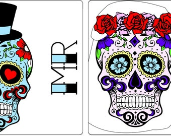 Set of 2 Matching Mr & Mrs Sugar Skull Coasters