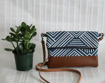 Foldover Crossbody Bag, Simple CrossBody Bag, JULIA CrossBody Purse, Everyday Purse, Hobo Handbag,Navy Crossbody Bag, Boho Bag, Gifts for 50