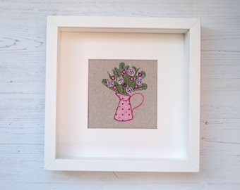 Jug of Flowers Textile Art Picture