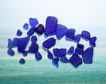 Blue Sea Glass 30 authentic genuine Sea Glass Pieces collected from far away islands