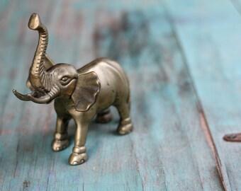 Heavy Brass Elephant, Brass Elephant Figurine, Vintage Brass Figurine, Brass Elephant, Elephant Decor, Vintage Brass, Brass Animal, Safari