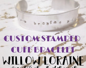 Custom Metal Stamped Cuff Bracelet, Personalized Text, Stamping,  Inspirational Jewelry, Meaningful Jewelry, Boho