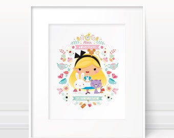 Alice in Wonderland - Nursery art girl, baby girl nursery, nursery print, girls room decor, modern nursery, girls art print, girls wall art