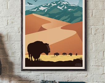 Great Sand Dunes National Park Poster, Vintage Travel Poster, Travel, Decoration, Wall Art, Printable Poster, USA, Colorado