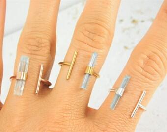 Raw Aquamarine Ring, Aquamarine Crystal Ring, Raw Crystal Ring, March Birthstone Ring, Gold Aquamarine Ring, Silver Aquamarine Ring
