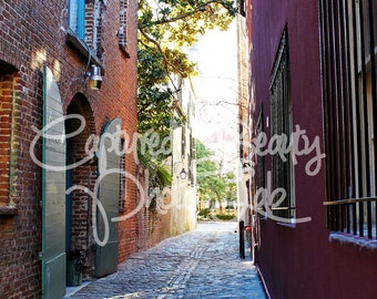 Charleston Alleyway Photography, Colorful Alley, South Carolina Photography, Charleston, Print