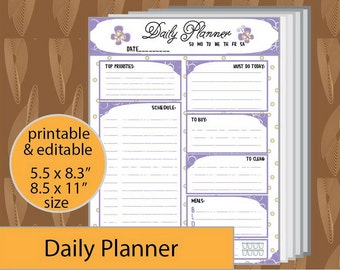 Daily Planner, A5 Planner inserts, Daily Schedule, Planner Printable, Filofax a5, Daily Planner insert, Daily Organizer -instant download