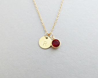 Hand Stamped Satin Gold Initial Disc Necklace with Custom Bead Birthstone