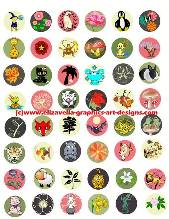 cartoon animal plants clip art collage sheet digital download 1 inch circles graphics images kids craft printables pendants pins magnets